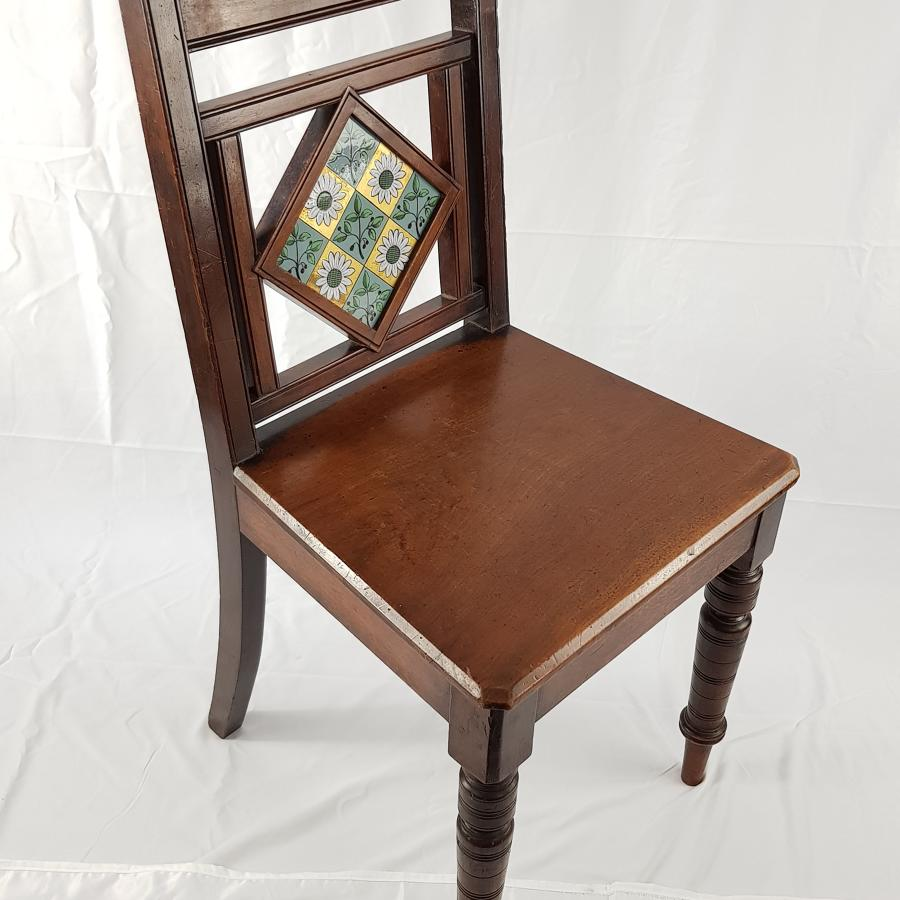 Aesthetic Movement Mahogany Hall Chair With Inset Tile