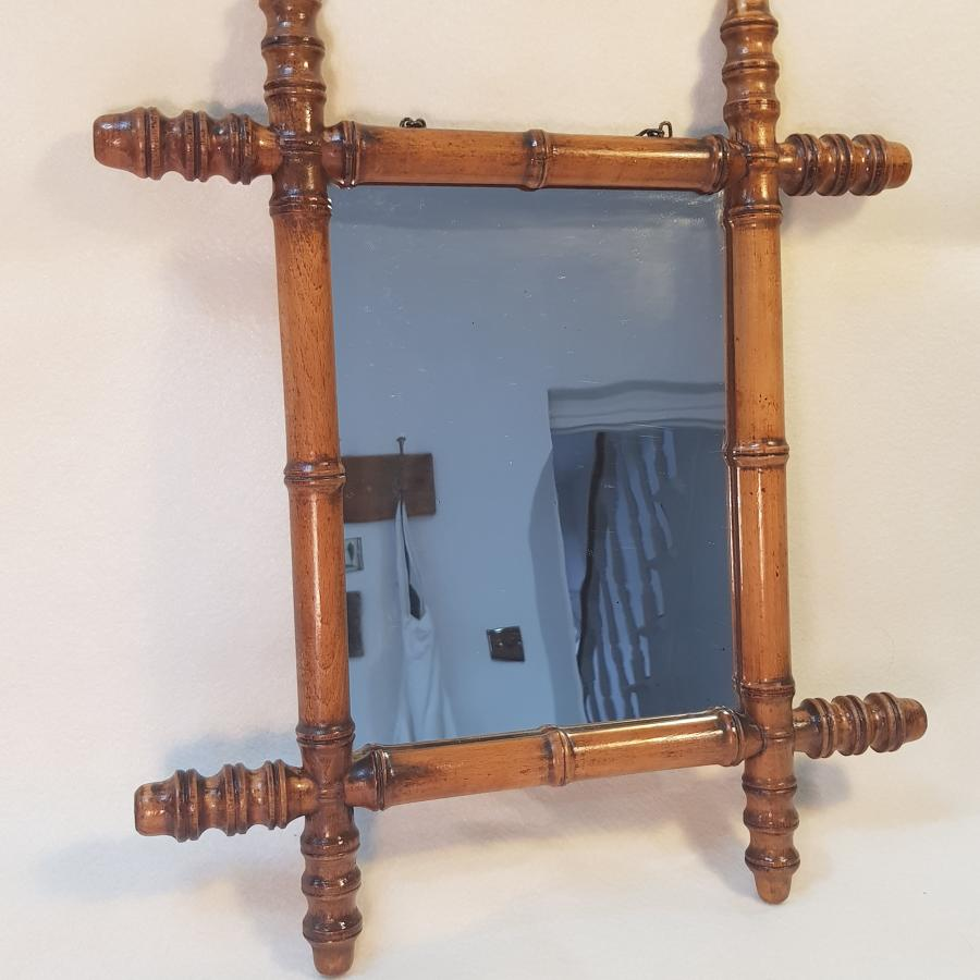 Late 19th/Early 20th Century French Light Faux Bamboo Mirror