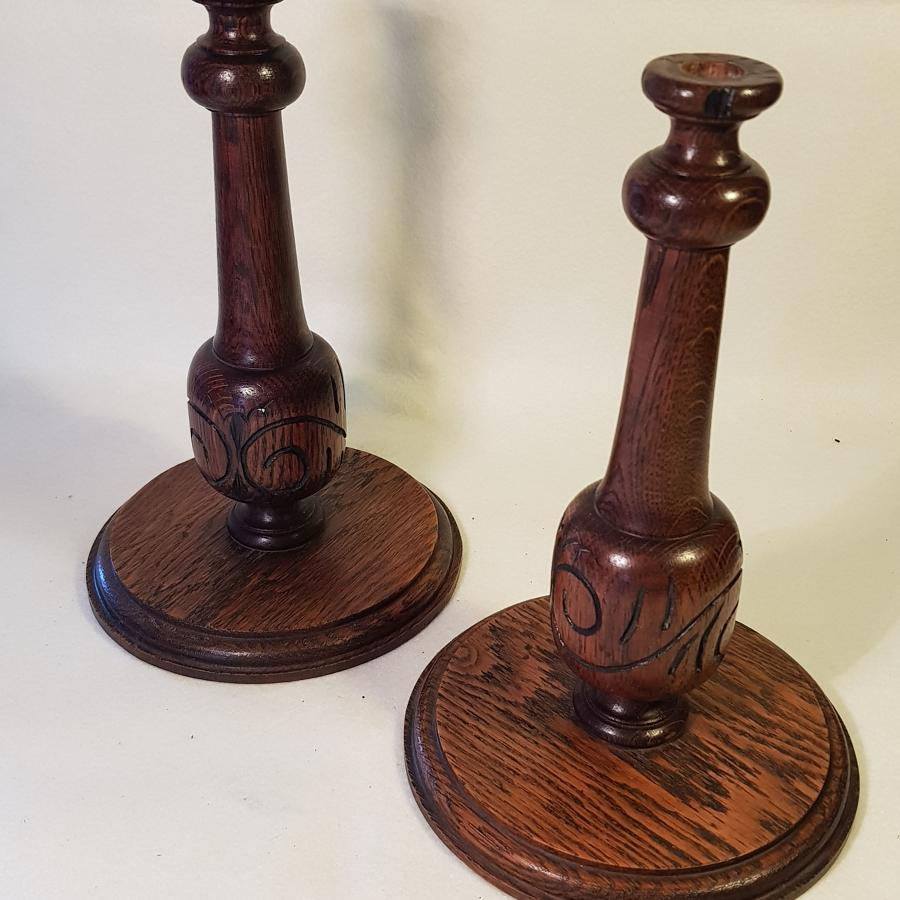 Pair of Edwardian Carved Wooden Candlesticks