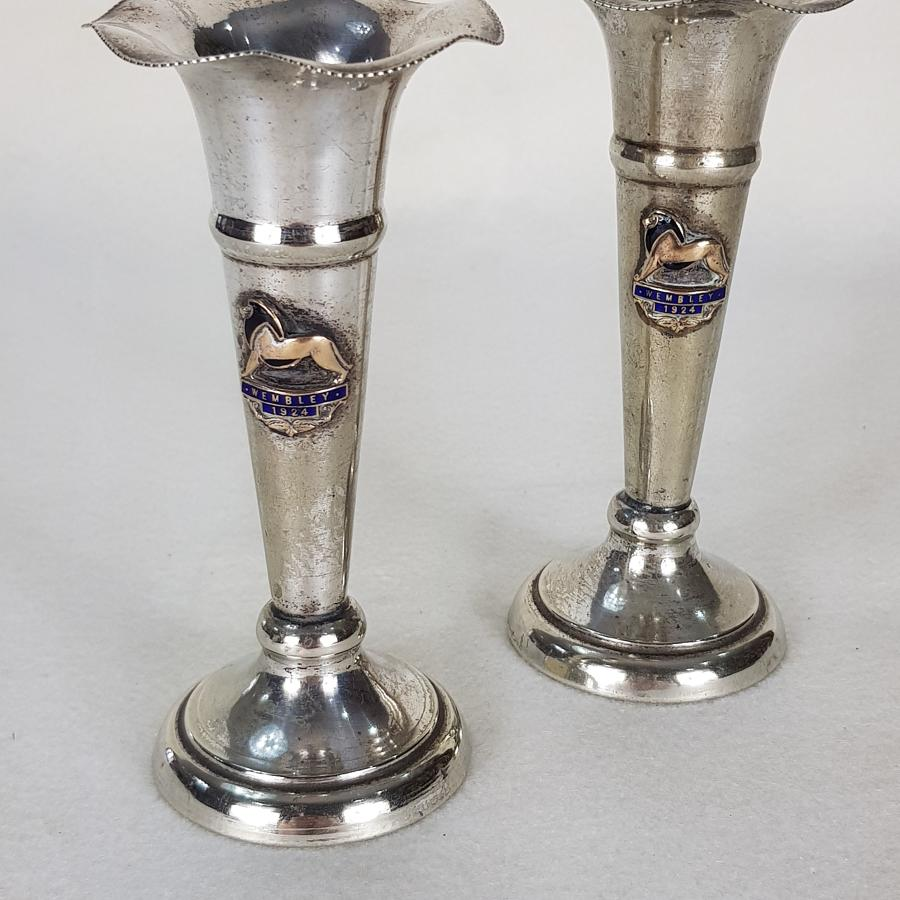 Pair of 1924 Wembley Empire Exhibition EPNS Vases
