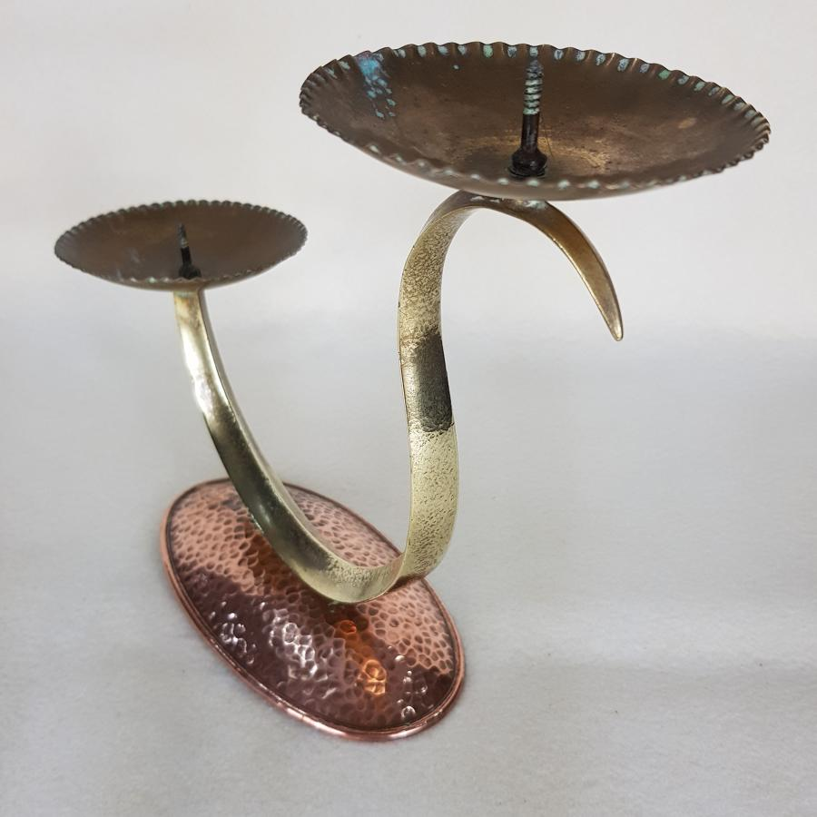 Vintage Swan Neck Copper And Brass Candlestick