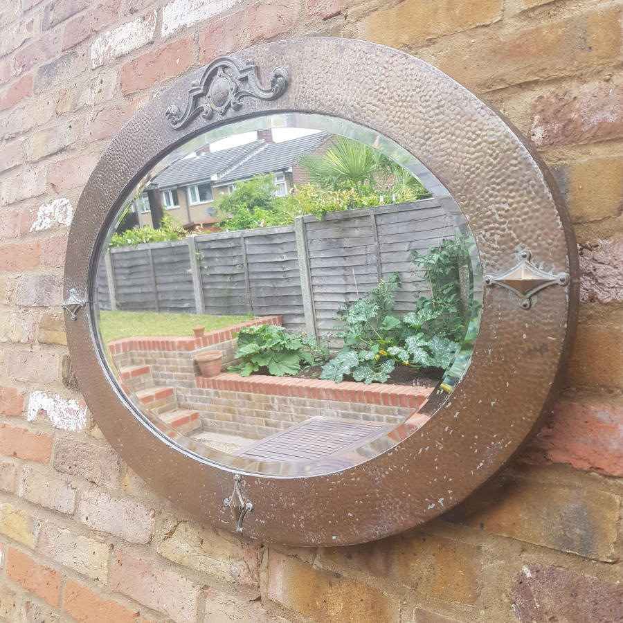 English Arts and Craft Large Oval Mirror - 1920s