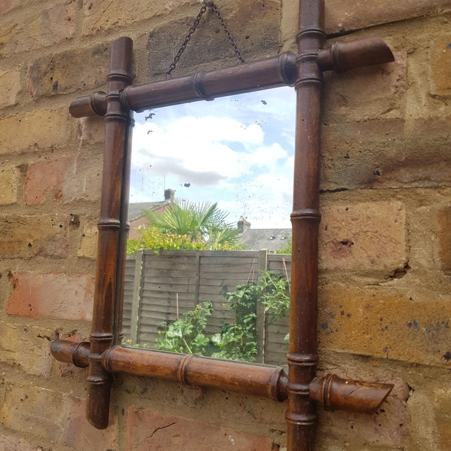 Late 19th/Early 20th Century French Dark Faux Bamboo Mirror