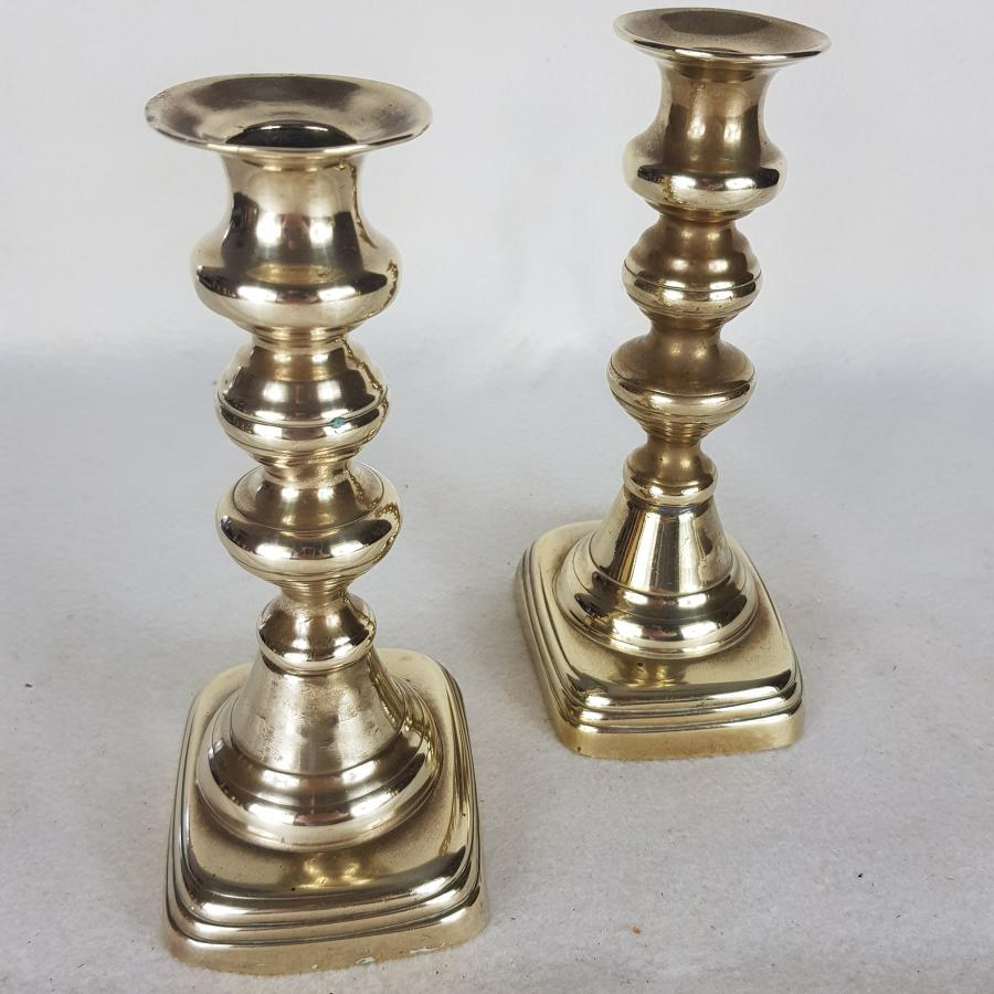 Pair Victorian Brass Candlesticks - Rounded Base