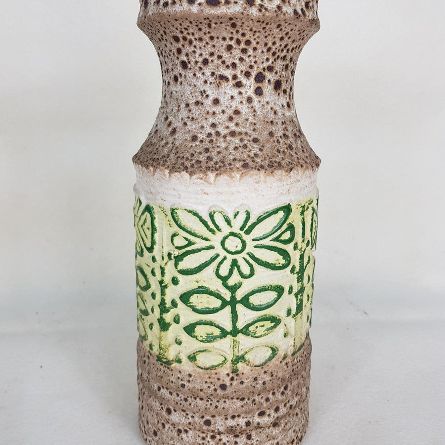 U Keramik Medium West German 1960s Green/Cream Vase 558/30