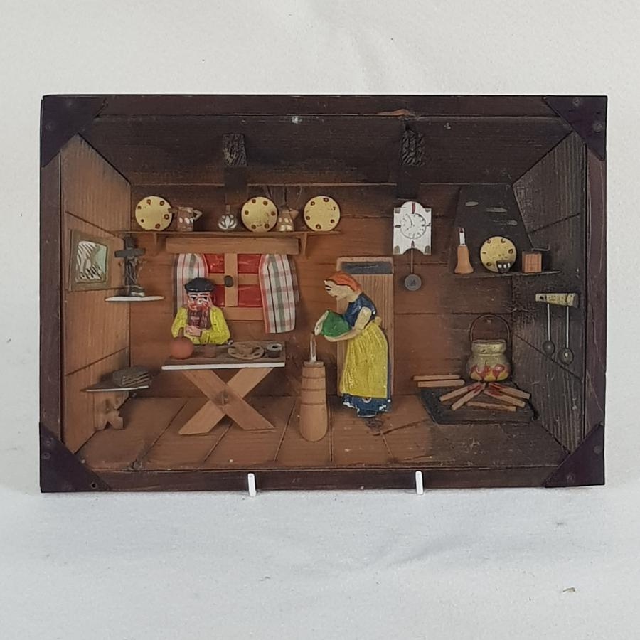 Early 20th Century European Diorama Of A Cottage Scene
