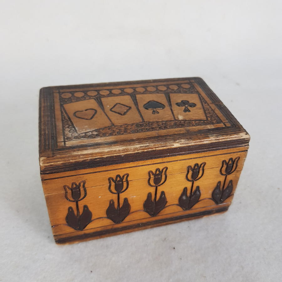 Wooden Playing Card Box (Possibly Dutch)