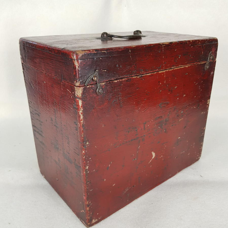 Late Victorian Red Wooden Box With A Cross Pattée Decoration