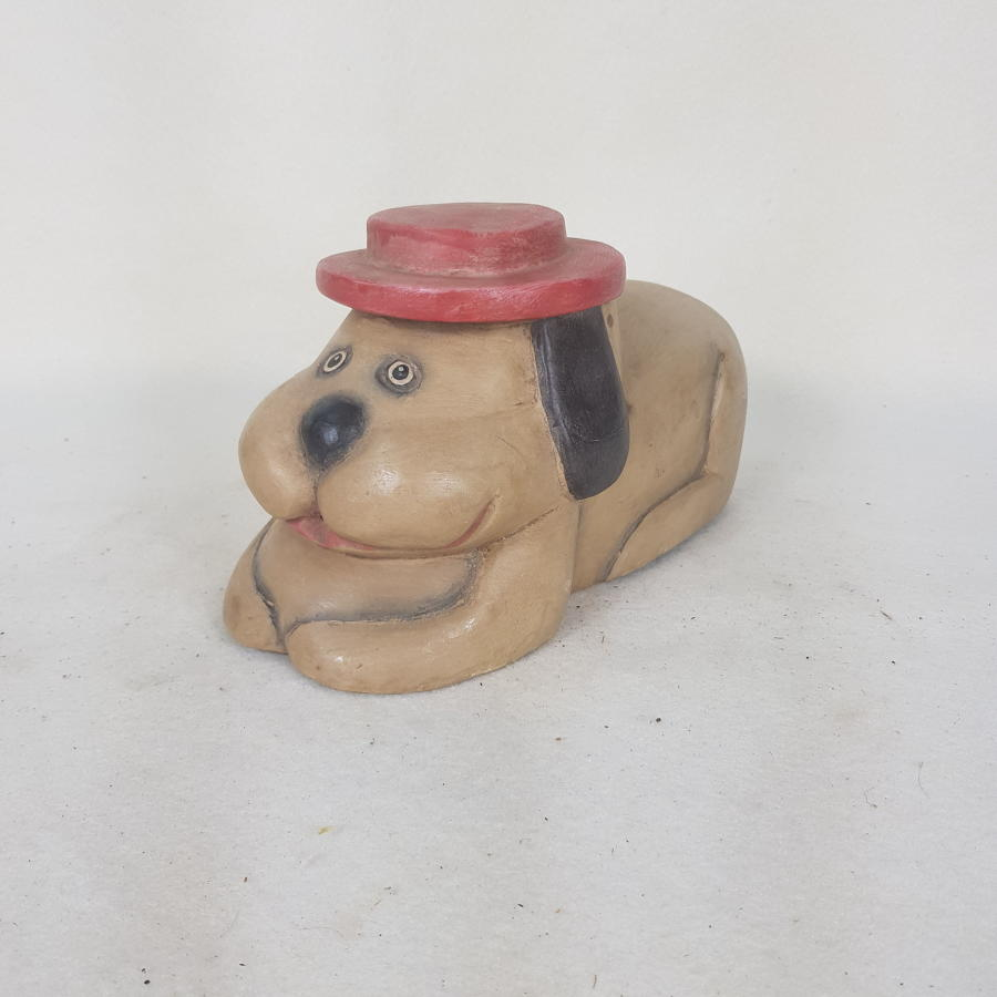 1970s Indonesian Carved Wooden Toy Dog