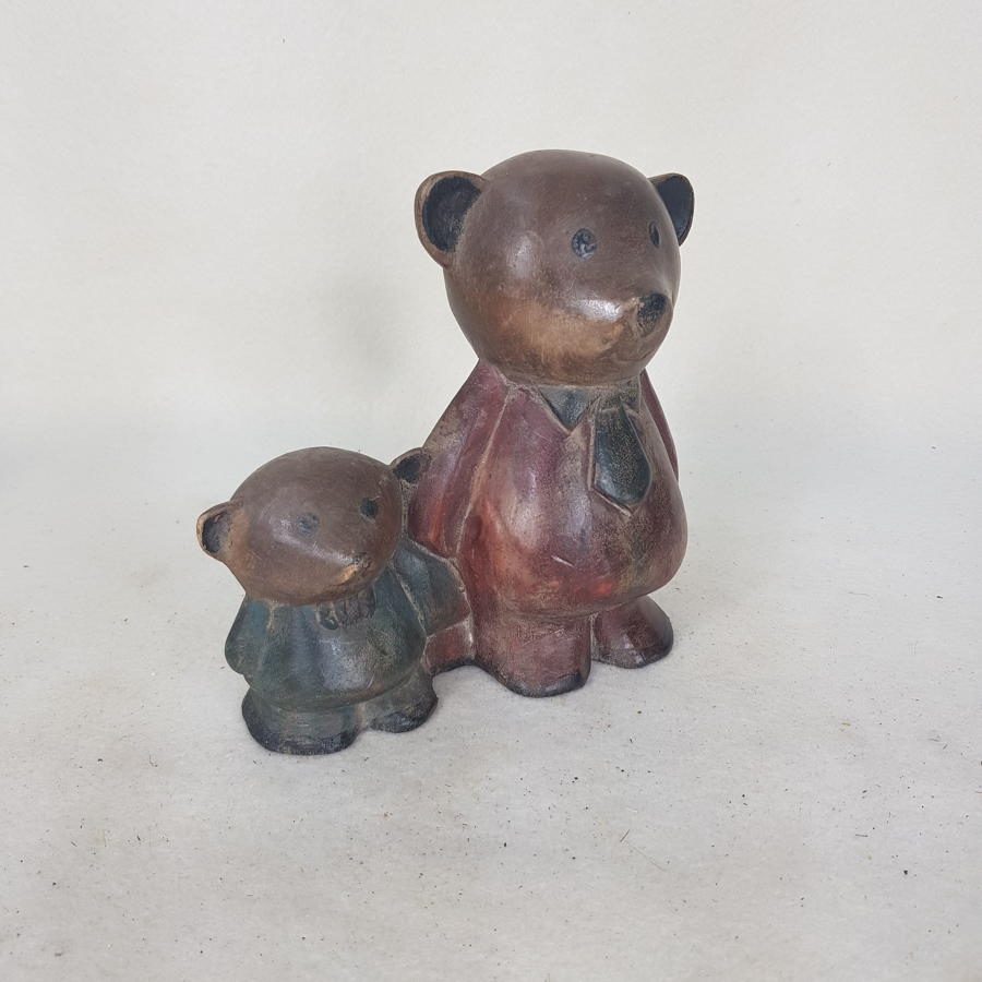 1970s Indonesian Carved Wooden Toy Bears