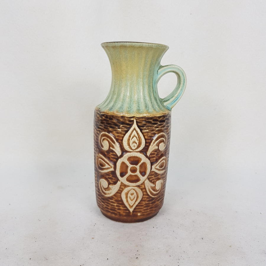 Medium Bay Keramik 1960s/70s Mint and Brown Vase 69/20