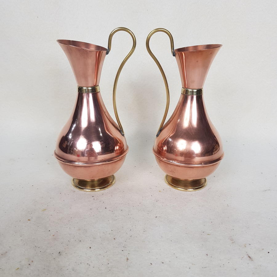 Pair of Small 1940s Copper and Brass Jugs