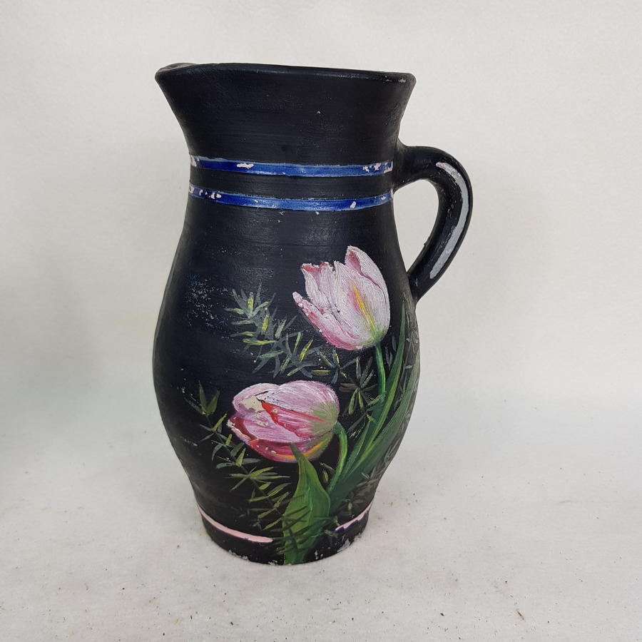 French 1950s Earthenware Painted Table Water Jug