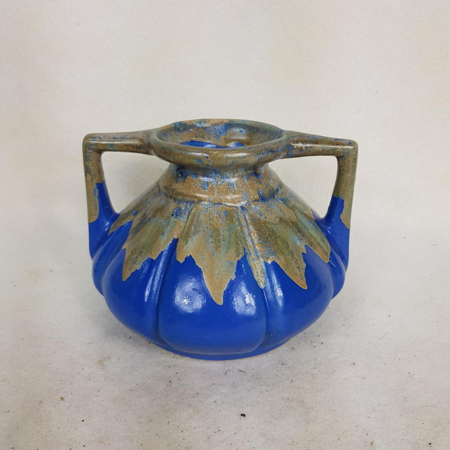 1970s West German Light Blue 2 Handled Vase (Indistinct Marks)