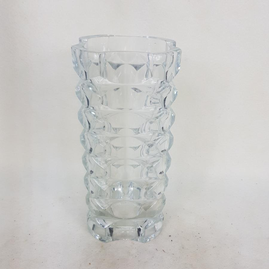 French 1970s Diamond Square Cut Crystal Vase