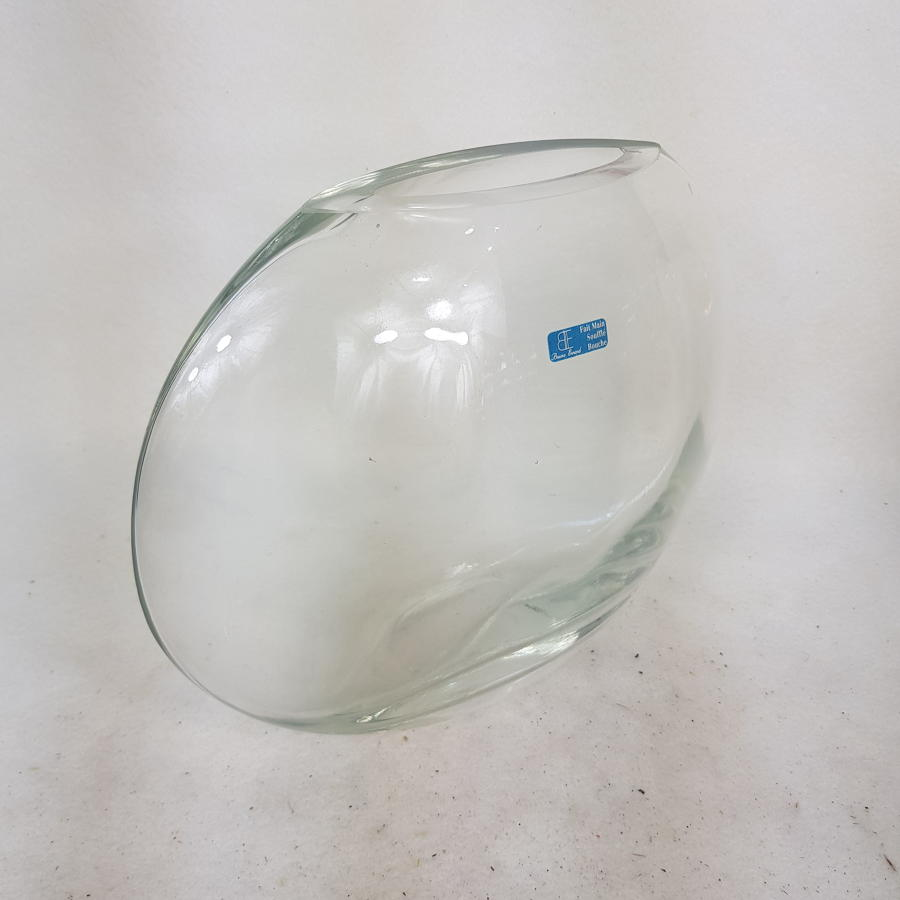 French Crystal Oval Vase by Bruno Evnard 1970s/80s