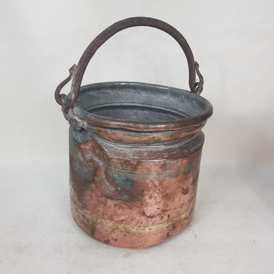 French 19th Century Steel and Copper Farm Pail / Bucket