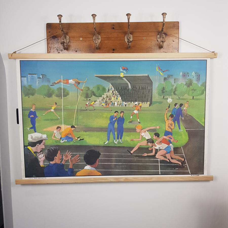 Large 1950s/60s French Double Sided School Poster - Circus / Athletics